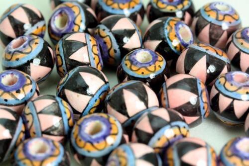 Géométrique Design Balle Glacé perle peinte à la main au Pérou V036