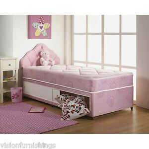 Small single 2 39 6ft x 5 39 9ft shorty pink damask divan bed for Shorty divan bed