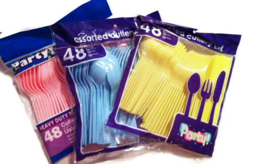 48 pcs assorted cutlery set For Baby showers birthdays pink blue yellow
