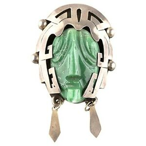 Sterling Silver & Green Calcite Mexican Taxco Aztec Mask Figure Brooch