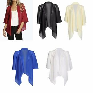 NEW WOMENS LADIES PLAIN CHIFFON KIMONO CARDIGAN SHRUG OPEN ...
