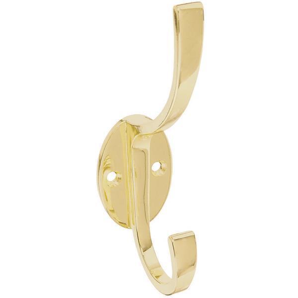 5 Pk Die Cast Brass Finish 5.5  High X 2.5  Projection Coat & Hat Hook N806968