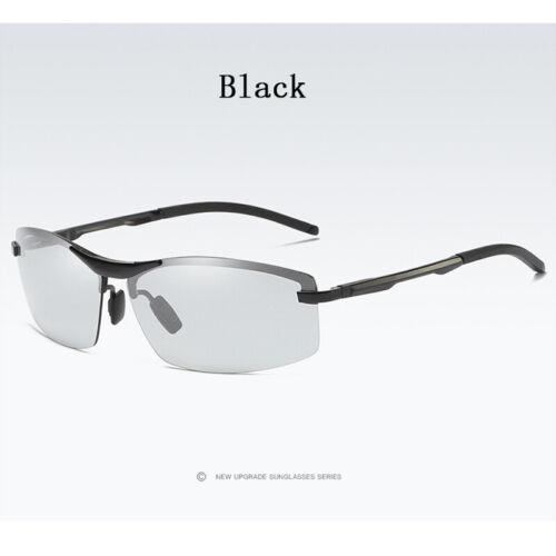 Men Photochromic Sunglasses Transition Lens Rimless Glasses HD Polarized Eyewear