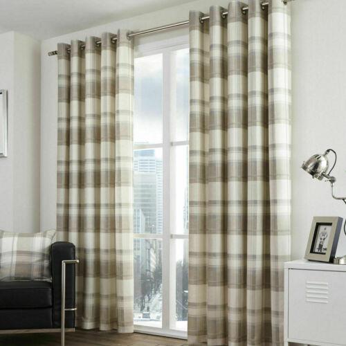 Natural Taupe Curtains Balmoral Tartan Check Lined Eyelet Ring Top Curtains Pair