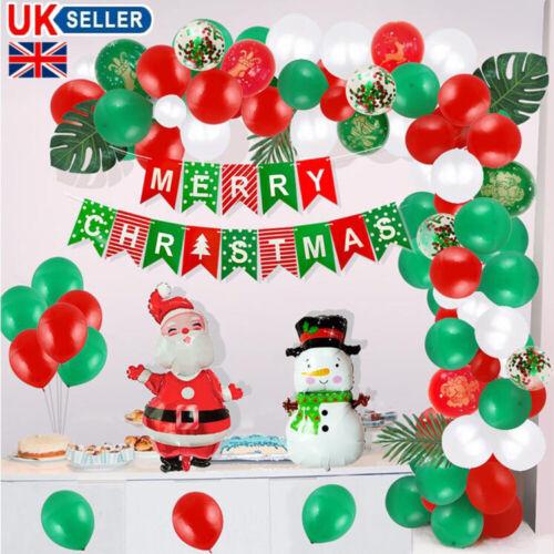 100Pcs Christmas Balloon Garland Arch Banner Foil Confetti Xmas Party Decor UK