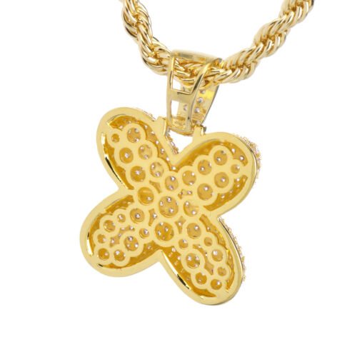 """X Initial Custom Bubble Letter Gold Plated Iced CZ Pendant 24/"""" Chain Necklace"""