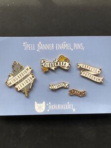 Details about Harry Potter Enamel Pin Set Spell Banners Wingardium Leviosa  Nox Lumos Alohomora