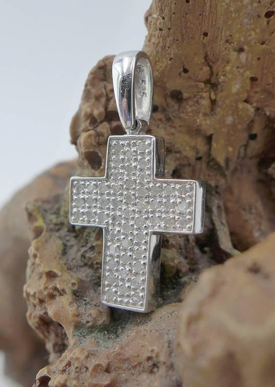 Splendente Diamante Ciondolo a Croce 585 in in in oro bianco 0 50 CT. a5068b