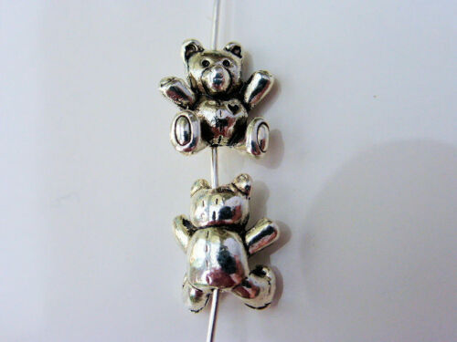 4 x Adorable 3D Teddy Bear Charms Beads Antique Silver 14mm x 10mm LF CPX7116A