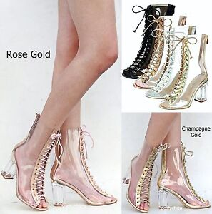 24f10ca718e New Women FC45 Rose Gold Peep Toe Lucite Clear Heel Lace Up Booties ...