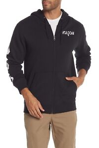 Volcom-Men-s-Round-Two-Hoodie-Fleece-Lined-Zip-Up-Sweater-Black-Size-Large-New