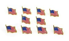 """LOT OF 10 AMERICAN FLAG LAPEL PINS 0.5"""" United States USA Hat Tie Tack Badge Pin"""