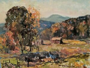 Original Earl W. North (1904-1989)- Listed Ohio Artist- Landscape Trees Vermont