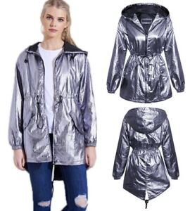 Womens-Ladies-Silver-Metallic-Parachute-Style-Parka-Jacket-Lightweight-Coat