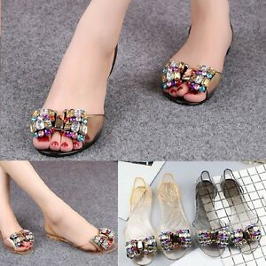 Hot-Pop-Women-Jelly-Sandals-Bling-Bowtie-Fashion-Peep-Toe-Shoes-Flats-Sandals