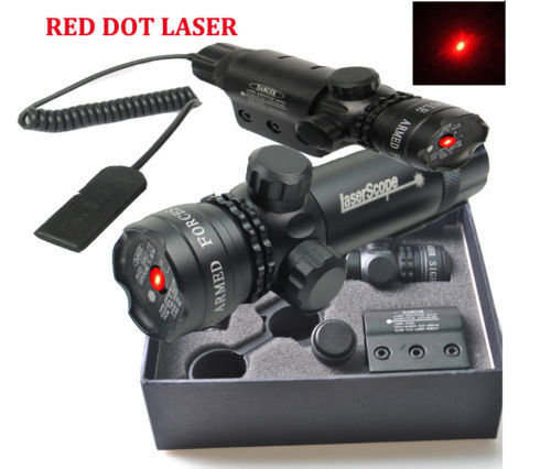 Top 650nm Red Dot Laser Sight Daul Mount +Switch For Rifle Airsoft Gun Hunting