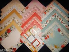 12X12 Scrapbook Paper Cardstock DCWV Coral Couture Stack Floral Garden 24 Lot