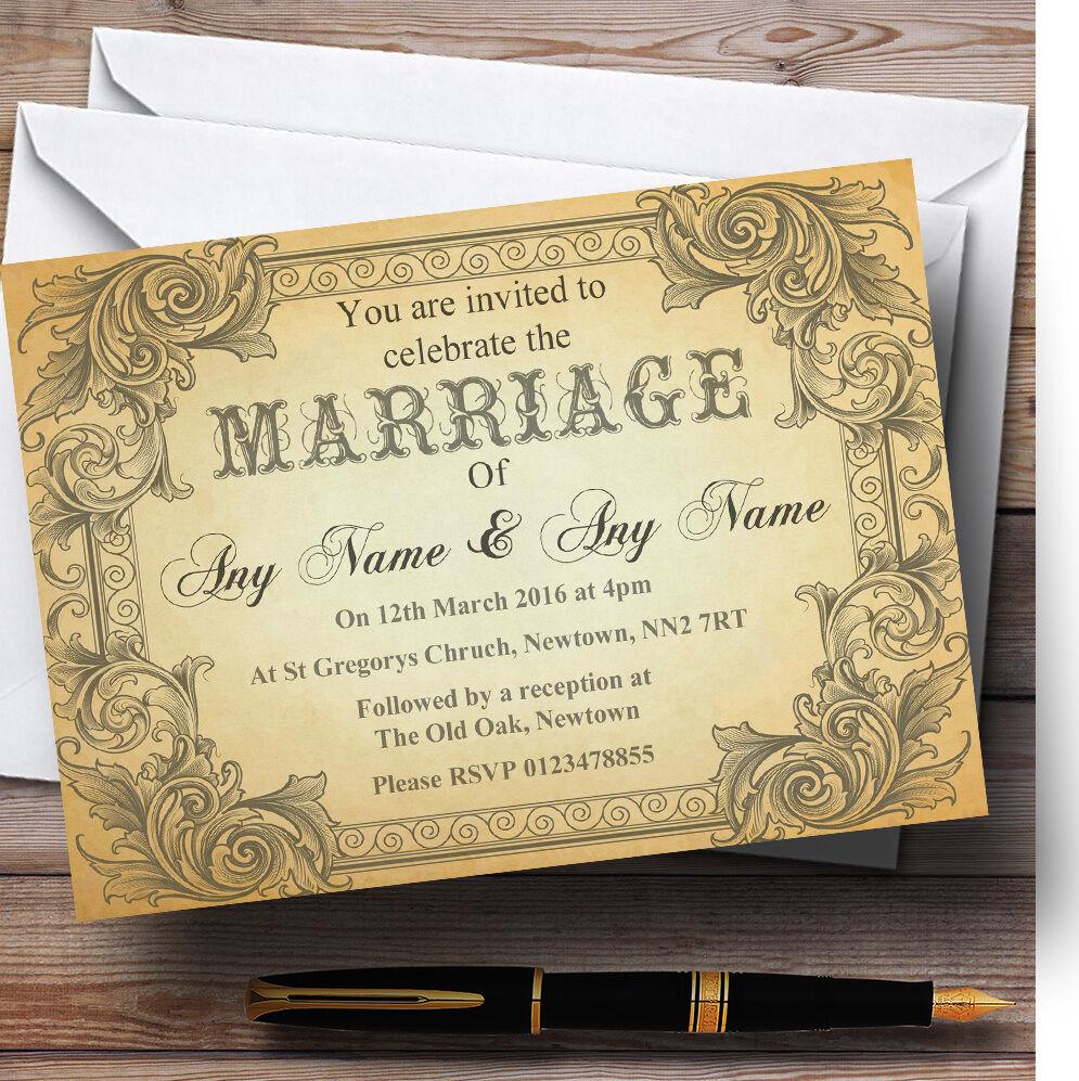 Typography Vintage braun Postcard Personalised Wedding Invitations