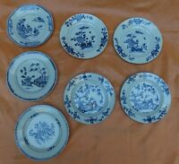 7 Antique Chinese Blue & White porcelain plates 18th c. / 2 pairs + 3 others