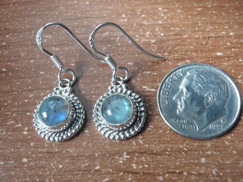 Medium Small Round Labradorite 925 Sterling Silver Dangle Earrings