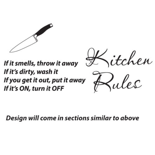 KITCHEN RULES WALL STICKER art vinyl decal QUOTE w116