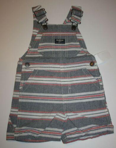 New OshKosh Boys Stripes Red White Blue Short Overalls NWT 2T 3T 5T VestBak