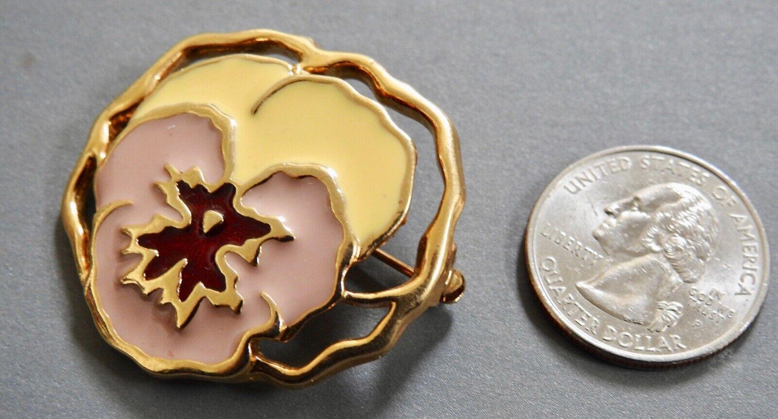 PANSY PIN enamel floral flower pin brooch goldton… - image 4
