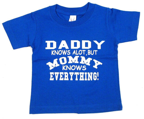 MOMMY Knows Everything Baby Infant T-shirt Funny Humor Tee 6M,12M,18M,24M Blue