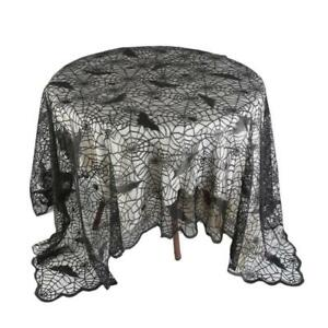 Image Is Loading Halloween Black Lace Spiderweb Cloth Tablecloth Bat Spider