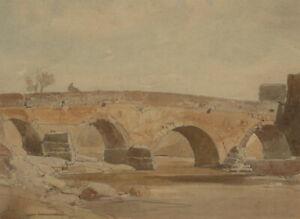 Oliver-Hall-RA-1869-1957-Early-20th-Century-Watercolour-Spanish-Bridge