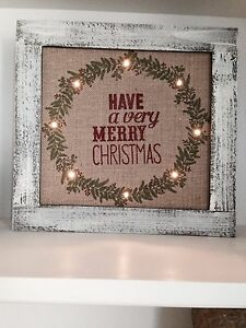"15/"" CHRISTMAS LIGHT UP SIGN BURLAP VINTAGE WOOD WALL DECOR HOLIDAY LED JEWELRY"