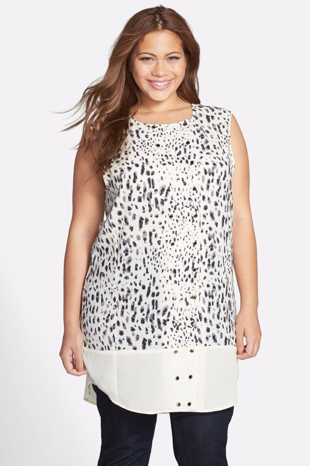 NWT  CARMAKOMA Mallala Sleeveless Animal Print Tunic Blouse Plus Size XS 12W