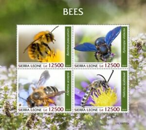 Sierra Leone - 2019 Bees on Stamps - 4 Stamp Sheet - SRL190710a