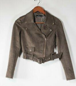 Aritzia Talula Womens XXS Brown Bomber Jacket Faux Suede Belted Moto Zip Coat
