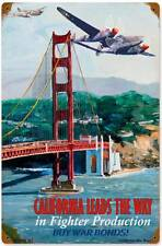 Aviation Airplane California Buy War Bonds Metal Sign Man Cave Garage Shop VG010
