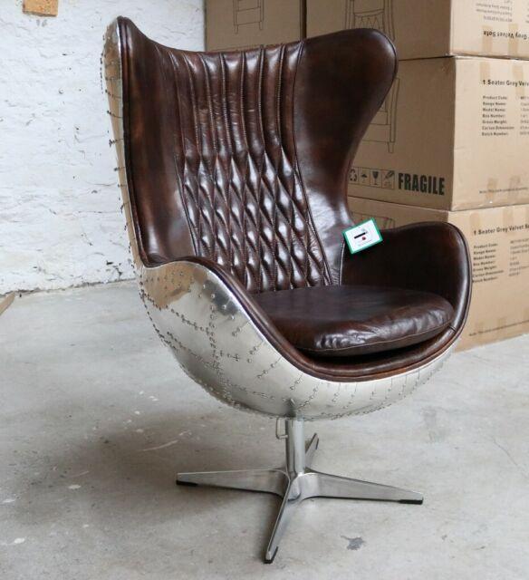 Wondrous Aviator Aviation Aluminium Swivel Egg Chair Vintage Brown Leather Arne Jacobsen Alphanode Cool Chair Designs And Ideas Alphanodeonline