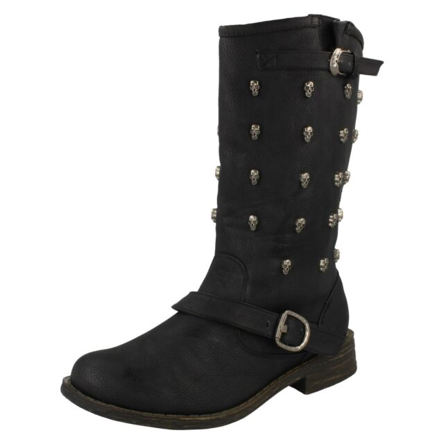 Ladies Spot On Black Synthetic Boot F50309