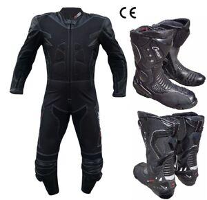 Stivali-Moto-Tuta-Touring-Stradale-in-Pelle-Tessuto-intera-Gobba-Protezioni-CE