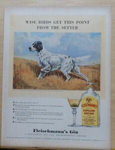 1940 magazine ad for Fleischmann's Dry Gin - English Setter illustration