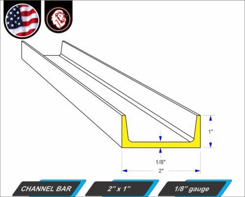 """48/"""" inch Long Mild Steel 2/"""" x 1/"""" Channel Bar 4-ft 1//8/"""" gauge"""