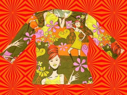155✪ funky Disco Dancing groovy 60er 70er Jahre Shirt Frauenkopf Pop Art grün
