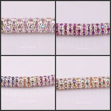 8mm Lot 100 pcs AB Color Crystal Rhinestone Rondelle Silver Plated Spacer Beads