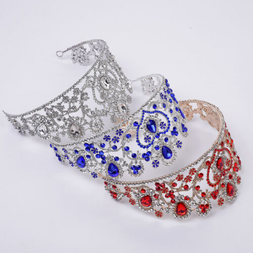 7pc of 8cm Large Heart Crystal Tiara Crown Wedding Prom Party Pageant 3 Colours