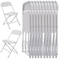 10-Pcs Commercial White Plastic Folding Stackable Wedding Party Chair