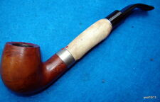 full bent Italian Briar Pipe BONE-SHANK-EXTENTION Hand-Crafted 2/3new~ITALY