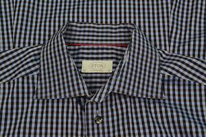 ETON-Contemporary-Navy-amp-Obsidian-Gingham-Plaid-Cotton-Dress-Shirt-Sz-16