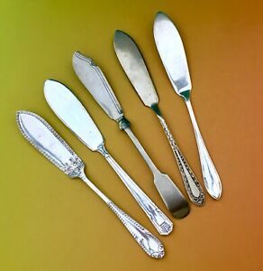 VINTAGE-BUTTER-KNIVES-x5-POTOSI-POTTER-GADROON-ROYALTY-EPNS-SILVER-PLATE-CUTLERY