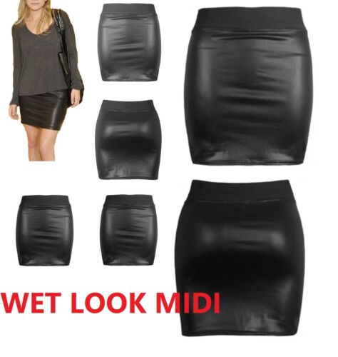 NEW WOMENS BLACK PVC WET LEATHER LOOK MINI PENCIL BODYCON SKIRT SIZE 6-22 wtsw