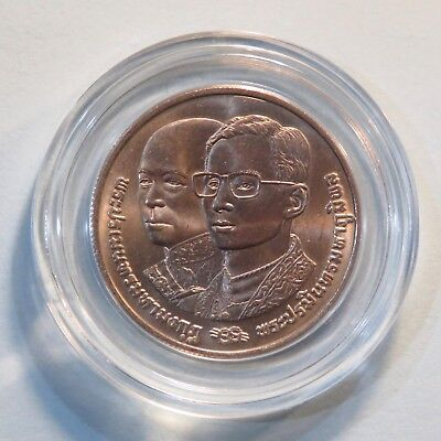 1992 10 Baht Thailand Coin 64th Birthday King Bhumibol Adulyadej Rama Ix & Iv Activating Blood Circulation And Strengthening Sinews And Bones