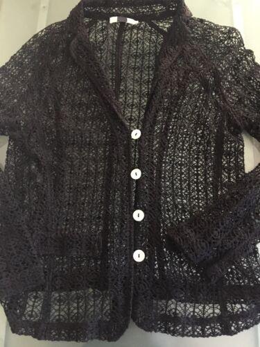 Anne Fontaine Black Lace Button Down Blazer/Top Sz